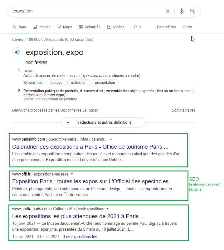 """Résultat SEO et SEA de la requête """"Exposition"""" dans Google"""